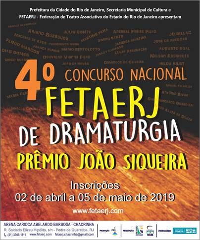 IV Concurso Nacional FETAERJ de Dramaturgia – PRÊMIO JOÃO SIQUEIRA